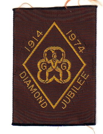 Brownie 60th Anniversary Badge, 1974 rectangle